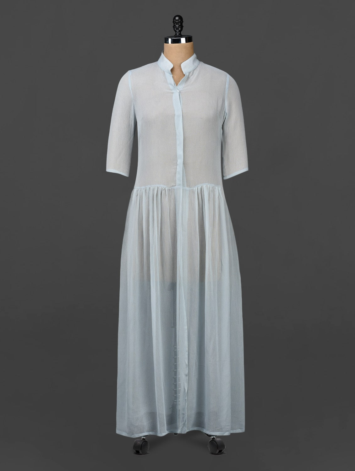 Mandarin Collar Sheer Maxi Dress - 335th