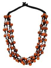 Black, Orange Beads, Thread Necklace - By