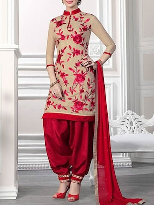 maroon & cream cotton  semistitched suit -  online shopping for Semi-Stitched Suits