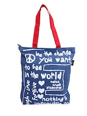Blue- White Typography  Canvas Tote Bag - ORANGEHEART