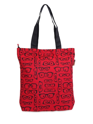 Red & Black Quirky Specs Canvas shopping Bag -  online shopping for Shopping Bags