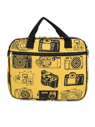 Yellow Camera Print Canvas Laptop Bag -  online shopping for Laptop bags