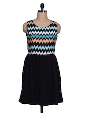 Black Polyester Chevron Printed Dress - Colbrii