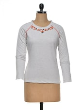 Floral Embroidered Cotton Knit Top - Colbrii