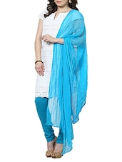 Dark Sky Blue Rubber Plain  Dupatta - By
