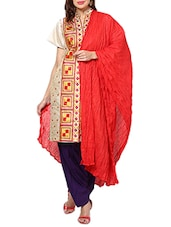 Red Cotton Plain  Dupatta - By