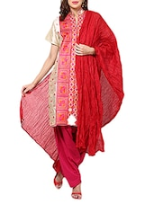 Blood Red Cotton Plain  Dupatta - By