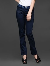 Navy Blue Slim Fit Formal Trouser - Kaaryah