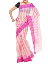 Beige & Pink Striped Cotton Saree - Mmantra