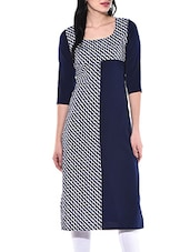 Blue, White Poly Crepe Long  Kurta - By