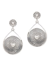 Round Cutwork Pearl Embellished Earrings - JEWELIZER