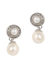Faux Pearl Embellished Earrings - JEWELIZER
