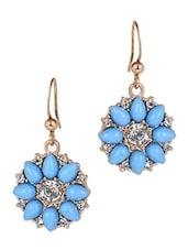 Blue Gem Stones Flower Drop Earrings - JEWELIZER