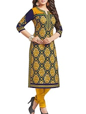 Dark Blue & Gold Cotton Paisley, Floral Printed Unstitched Kurta - By