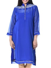 Royal Blue Poly Georgette Regular Kurta - By