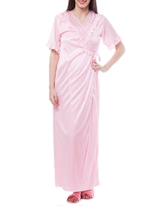 Pink Satin Lace Night Robe