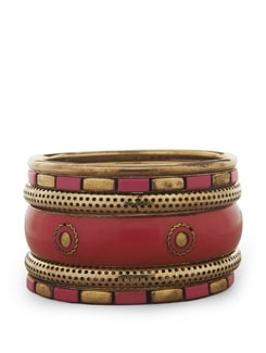 Fuchsia Pink And Gold Bangle Set - Flaunt