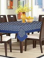 Lushomes Digital Printed Blue Themed Table Cloth For 6 Seater - By