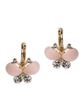 Pink Metal Alloy With Stones Earrings - Fashionography