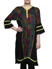 Black Floral Print V-neck Kurti - Kurti Kala