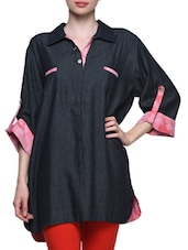 Black Lawn Cotton Short Kurti - Kurti Kala