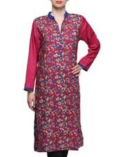 Pink Floral Print Lawn Cotton Kurti - Kurti Kala