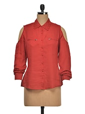 Red Cut-Out Sleeves Cotton Shirt - Wildrose