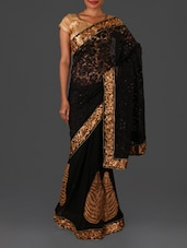Black Embroidered Brasso Georgette Saree - By