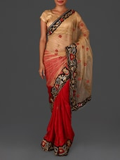 Red Embroidered Saree - By
