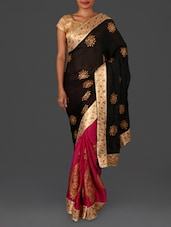Black Embroidered Satin Chiffon Saree - By