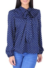 blue, white poly american crepe shirt -  online shopping for Shirts