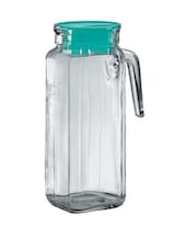 Transparent Square Shaped Glass Jug With Green Lid - Borgonovo