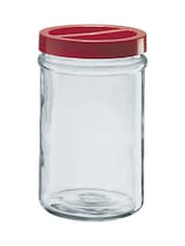Transparent Everyday Jar With Red Lid - Borgonovo