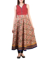 Multi Color, Cotton Printed A- Line Kurta - By