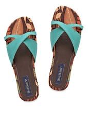Sea Green Platform Slippers - Blue Button