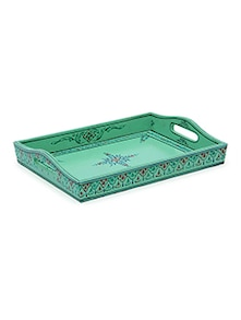 Mint painted wooden tray