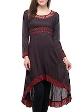Brown Rayon High Low Kurta - By