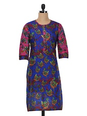 Blue & Pink Peacock Print Cotton Kurta - SHREE