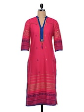Fuchsia Quarter Sleeves Cotton Kurta - SHREE