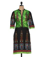 Green & Black Printed Cotton Kurta - SHREE