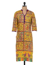 Multicoloured Paisley Print Cotton Kurta - SHREE