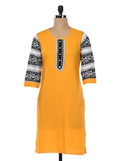 Yellow Printed Sleeves Cotton Kurta - SHREE