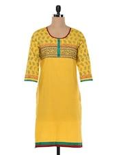 Yellow Printed Cotton Kurta - SHREE