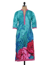 Blue Floral Print Cotton Kurta - SHREE