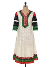 White Quarter Sleeves Cotton Kurta - SHREE