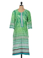 Casual Green Cotton Printed Kurta - SHREE