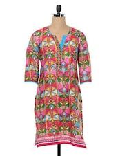 Ethnic Print Cotton Three-quarter Sleeved Kurta - SHREE