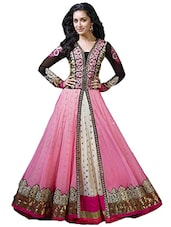 pink georgette flared semistitched suit -  online shopping for Semi-Stitched Suits