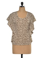 Round Neck Animal Printed Top - KAXIAA