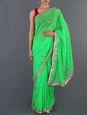 Green Chiffon Saree - Rajasthani Sarees